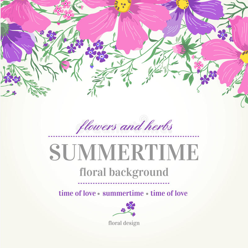 Vector wedding invitation and background with flowers. royalty free illustration