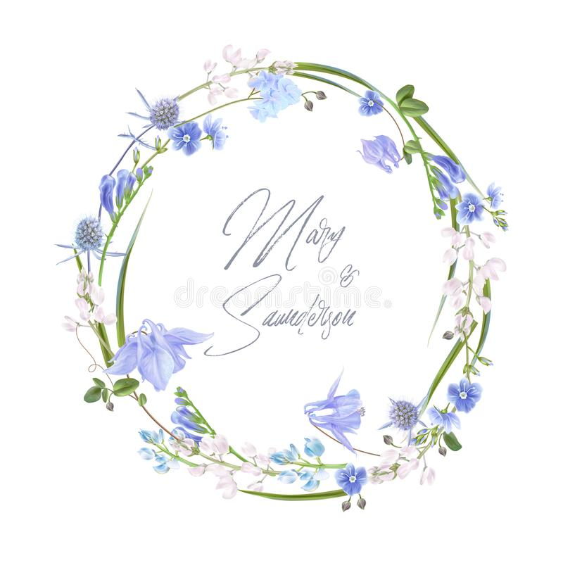 Blue herb wreath stock illustration