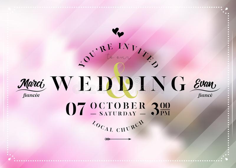 Vector Wedding Invitation in Pastel Colors. Save The Date. royalty free illustration