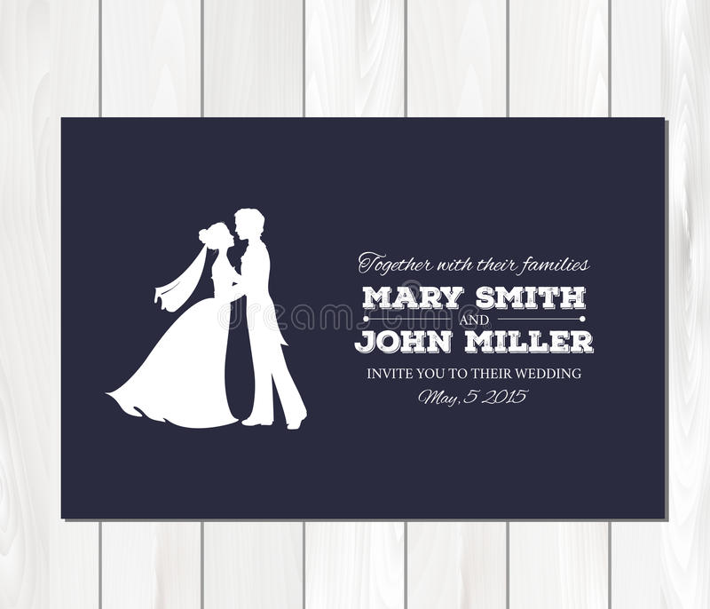 Vector wedding invitation with profile silhouettes royalty free illustration