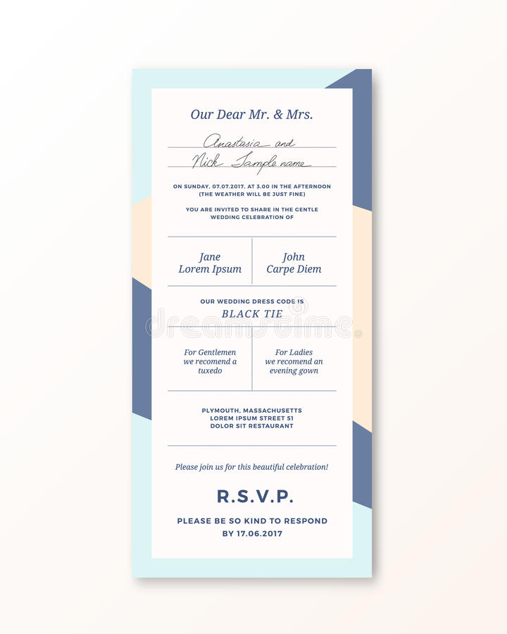 Vector wedding invitation template modern typography and pastel vector wedding invitation template modern typography and pastel beige blue colors classy design card with soft realistic shadow isolated stopboris Gallery