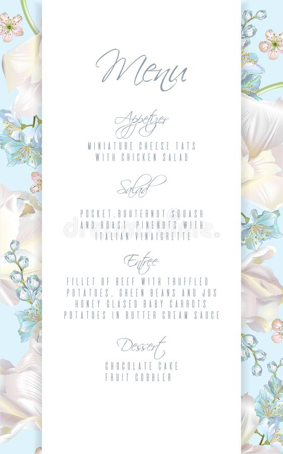 Tulip blue menu. Vector wedding menu card with white tulip flowers on blue background. Can be used as greeting card, floral design for cosmetic, perfume, beauty stock illustration