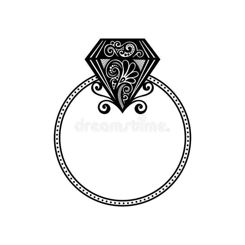 Vector Wedding Ring with Diamond. vector illustration