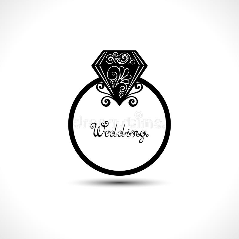 Vector Wedding Ring with Diamond. Will You Marry Me Ring vector illustration