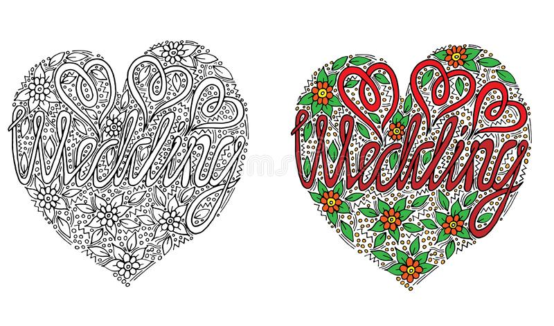 Vector Wedding words with flover and leaf for coloring book. Hand written wedding custom calligraphy isolated on black. Elegant ornate lettering vector illustration