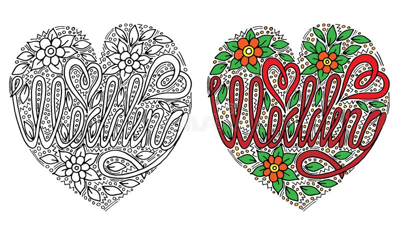 Vector Wedding words with flover and leaf for coloring book. Hand written wedding custom calligraphy isolated on black. Elegant ornate lettering stock illustration