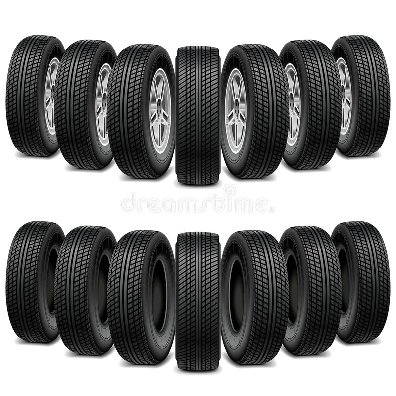Vector Wedge of Tires. On white background stock illustration