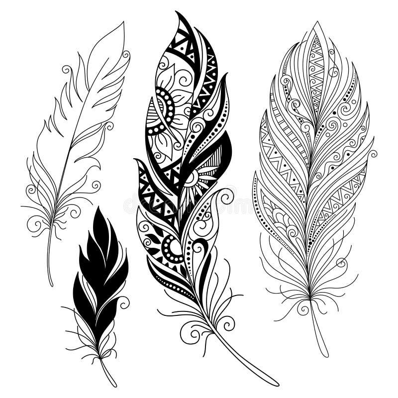 Vector Weergaloze Decoratieve Veer stock illustratie