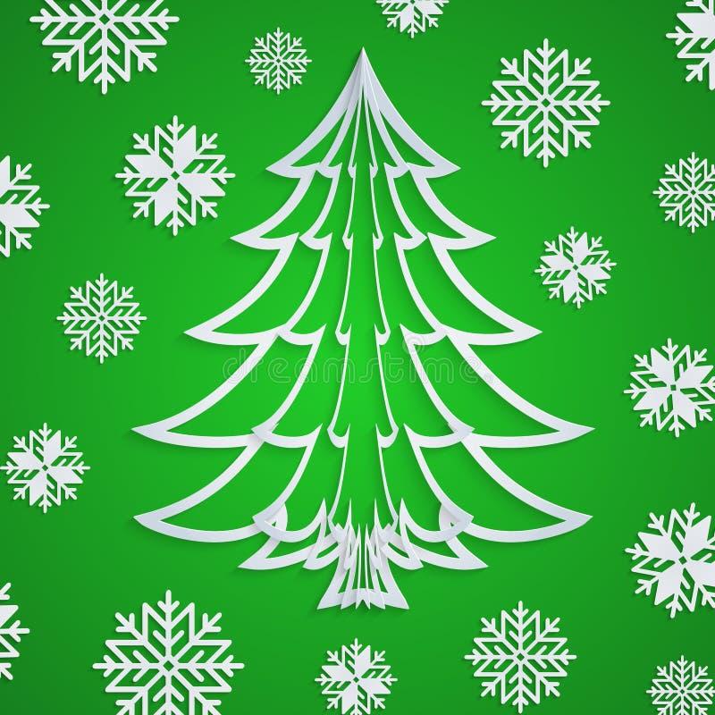 Vector Weißbuch Weihnachtsbaum auf dem grünen Hintergrund mit Schneeflocken stock abbildung