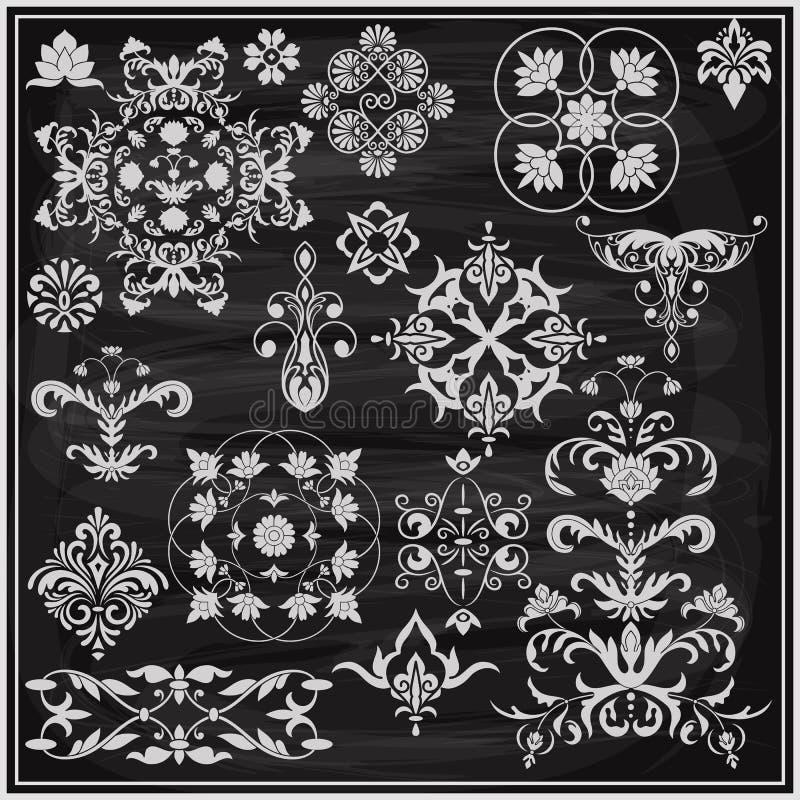 Vector weiße Blumenmusterelemente der Weinlese auf der Tafel lizenzfreie abbildung