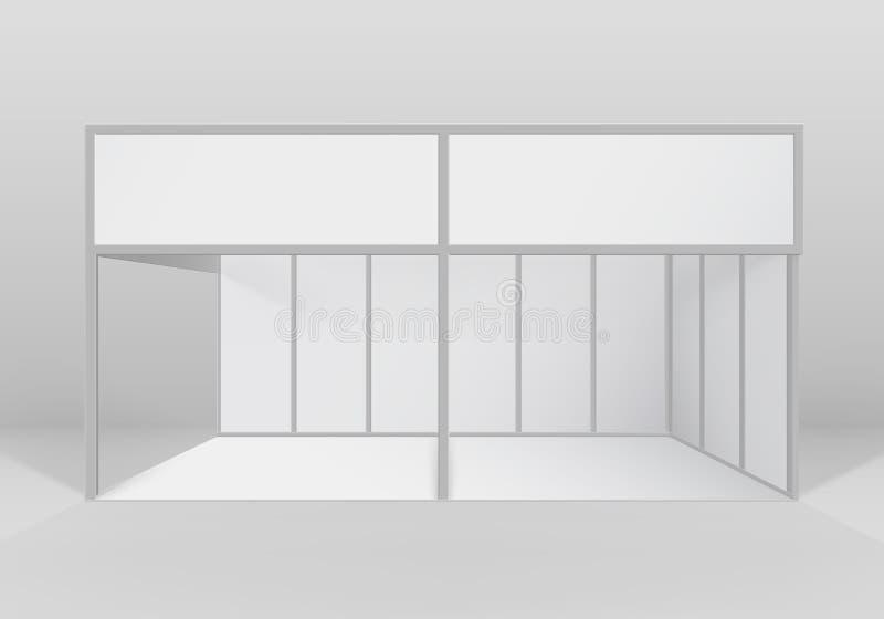 Vector weißer Innengeschäftsden ausstellung Stand-Standardstand für Darstellung lokalisiert mit Hintergrund vektor abbildung