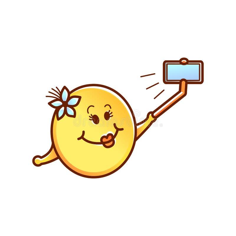 Vector weibliches smileygesicht, den Emoticon, der selfie macht lizenzfreie abbildung
