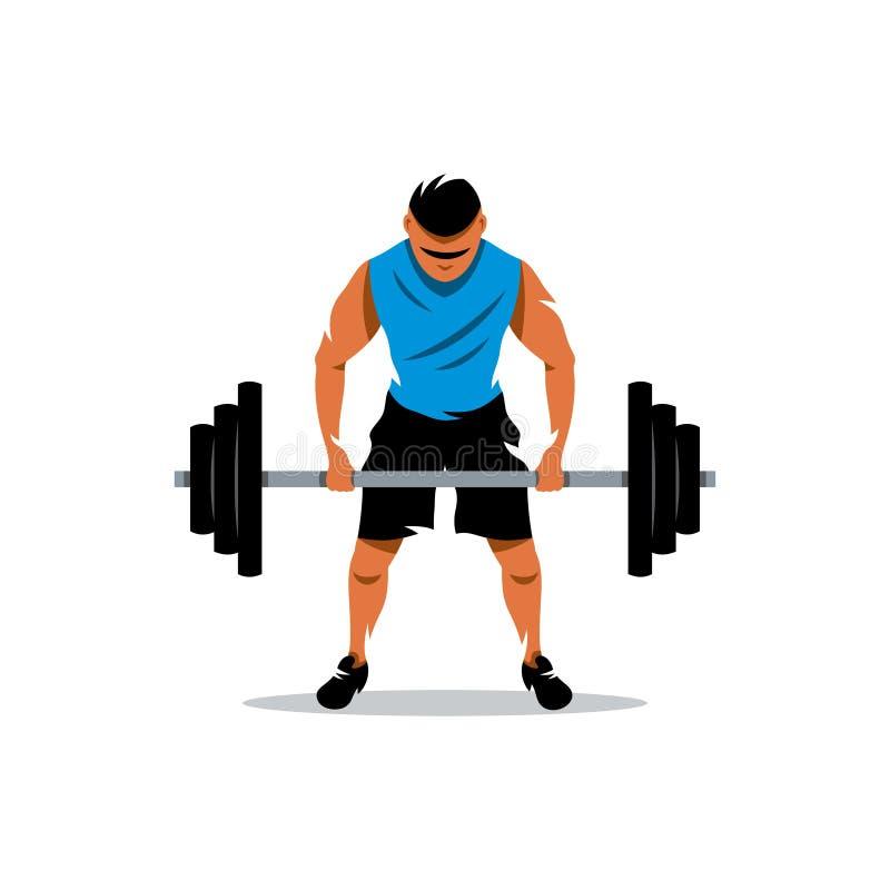 Vector Weightlifting Cartoon Illustration. stock illustration