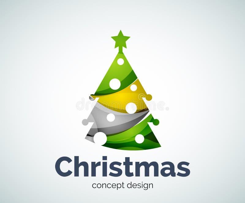 Vector Weihnachts- oder des neuen Jahresbaumlogoschablone lizenzfreie abbildung