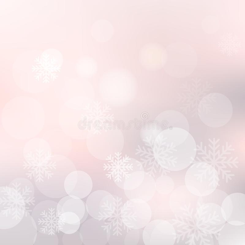 Vector Weihnachtshintergrund mit Schneeflocken und glänzenden bokeh Lichtern vektor abbildung