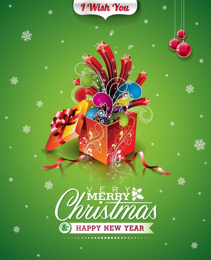 Vector Weihnachtsillustration mit typografischer Design- und Magiegeschenkbox auf grünem Hintergrund stock abbildung