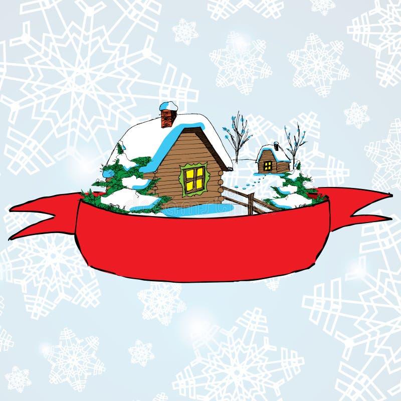Vector Weihnachtslandschaft mit einsamer ländlicher Hütte und rotes baner für Text auf Hintergrund lizenzfreie abbildung