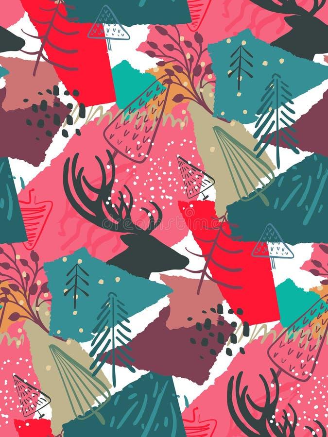 Vector Weihnachtsnahtloses Muster mit bunten abstrakten Collagenbeschaffenheits- und -feiertagselementen vektor abbildung
