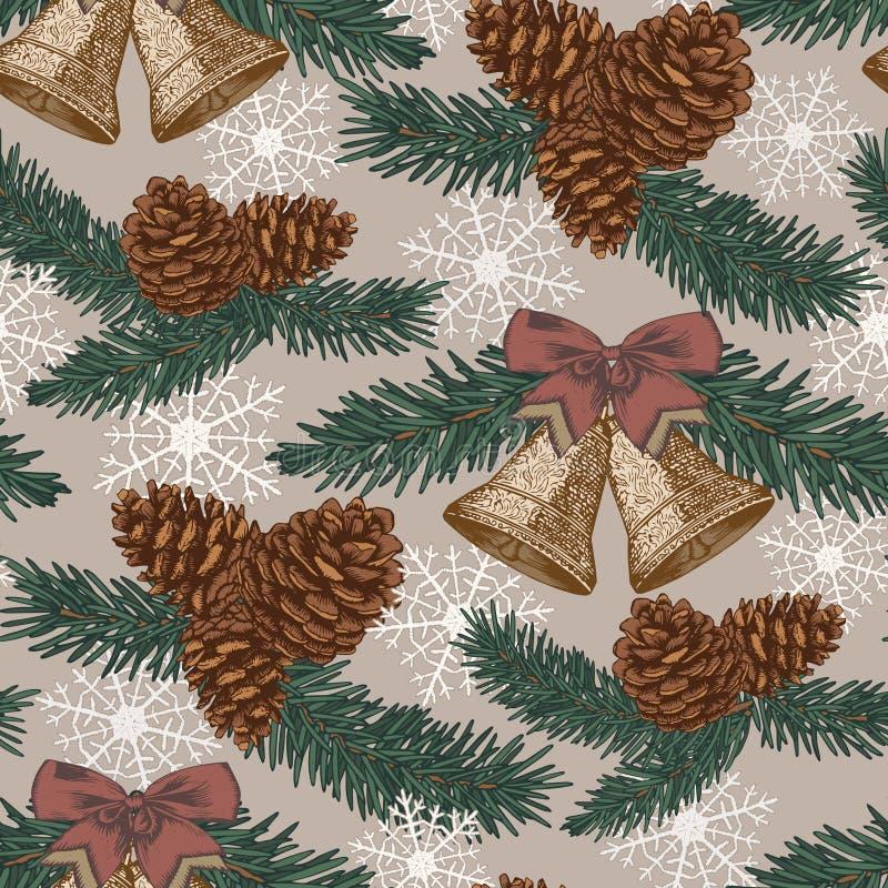 Vector Weihnachtsnahtloses Muster mit Tannenbaum, Tannenzapfen, Glocken in der Weinleseart stock abbildung