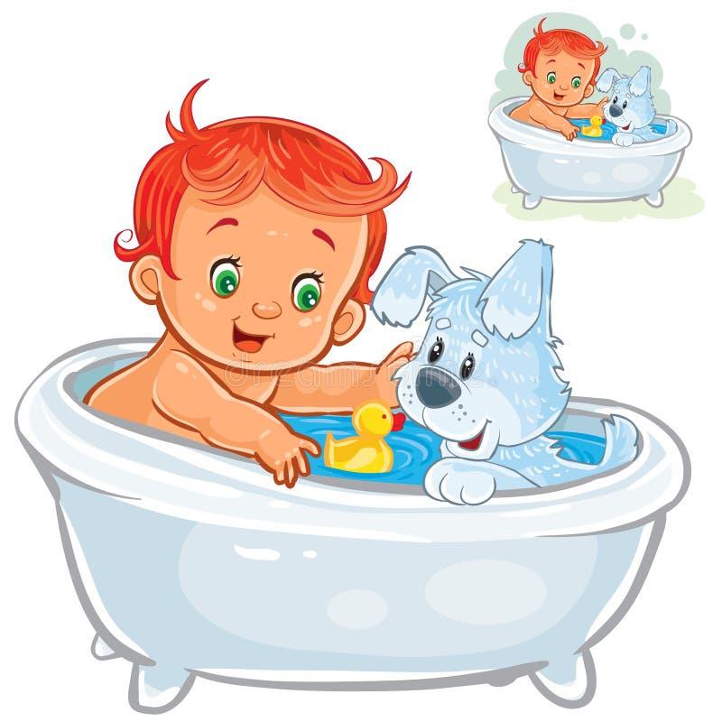 Vector weinig baby die een bad nemen en rubbereenden samen met zijn hond spelen stock illustratie