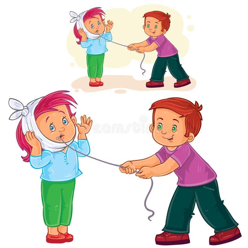 Vector weinig jongen die een andere jongen helpen om een zieke tand met een draad te verwijderen vector illustratie