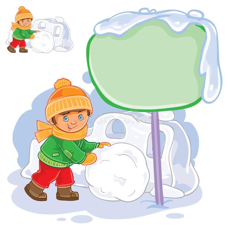 Vector weinig jongen die een sneeuwbal rollen en een sneeuwvesting bouwen stock illustratie