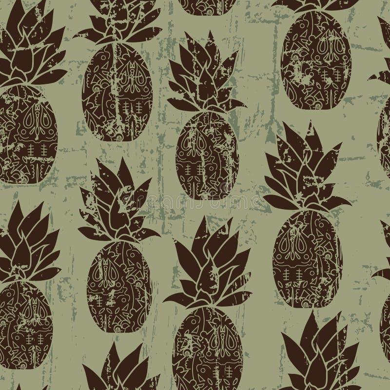 Vector Weinlese stilisiertes nahtloses Muster der Ananas mit verkratztem Beschaffenheitseffekt vektor abbildung