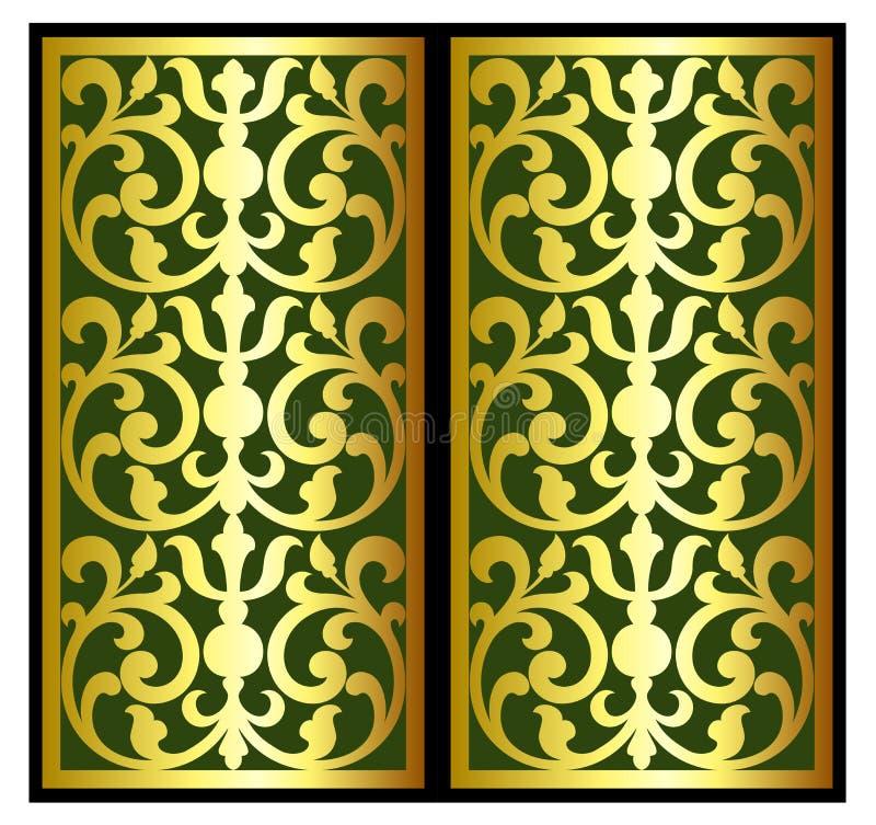 Vector Weinlesegrenzrahmen-Logostich mit Retro- Verzierungsmuster im dekorativen Design der antiken Rokokoart stockbild