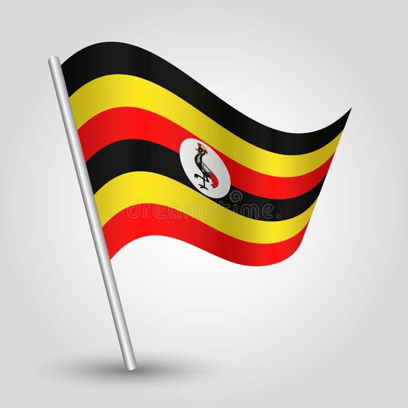 Vector wellenartig bewegende Dreieck Ugandanflagge auf schräg gelegenem silbernem Pfosten - Ikone von Uganda mit Metallstock lizenzfreie abbildung