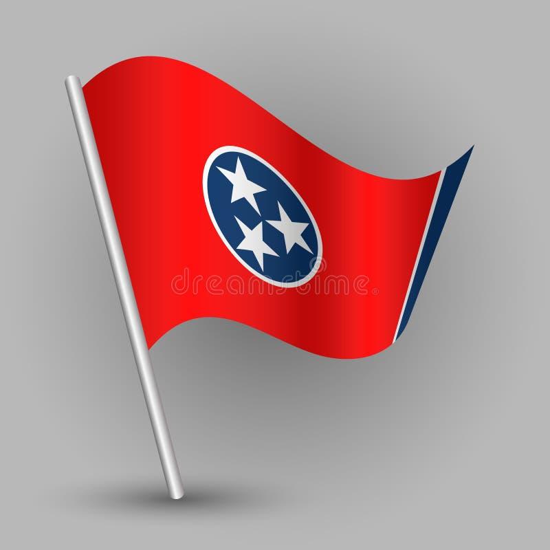 Vector wellenartig bewegende Flagge des amerikanischen Staates des Dreiecks auf schräg gelegenem silbernem Pfosten - Ikone von Te lizenzfreie abbildung