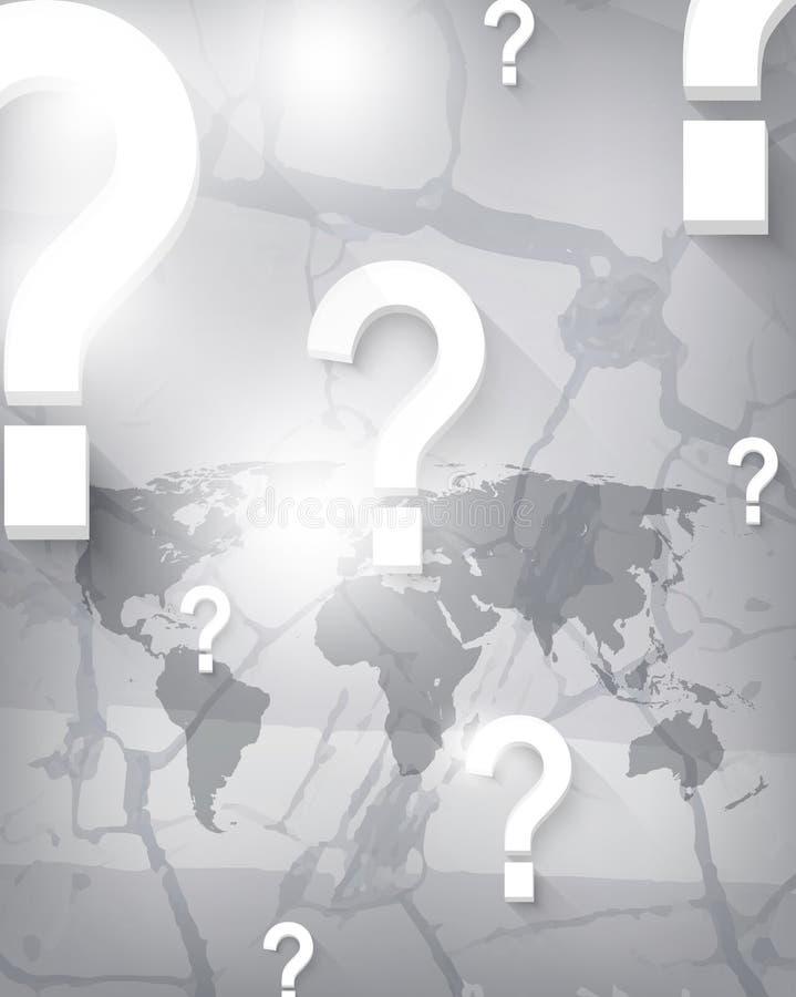 Vector Weltkarte und Fragezeichen auf Sprungshintergrund lizenzfreie abbildung