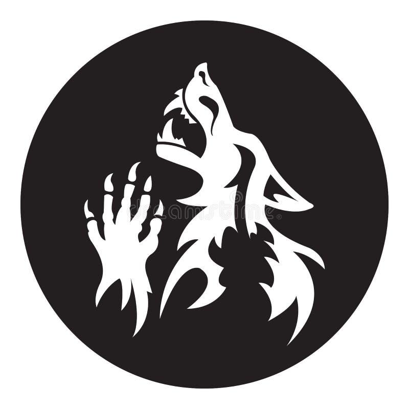 Vector werewolf stencil. White-black color vector illustration