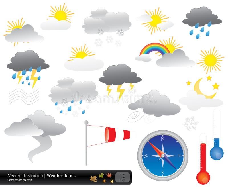 Vector Wetterikonensatz stock abbildung