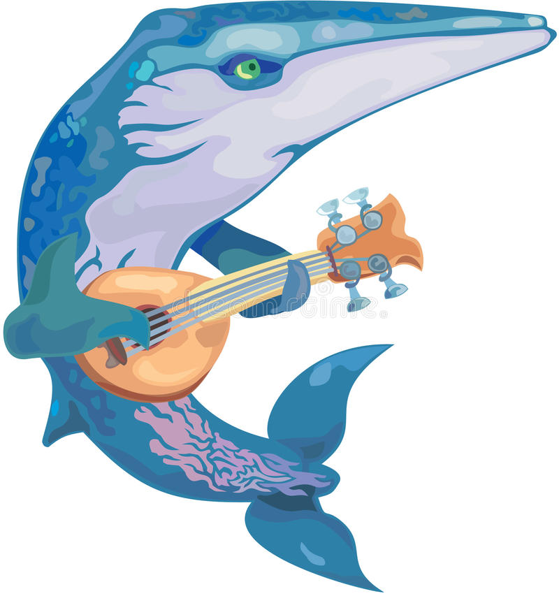 Vector whale musician vector illustration