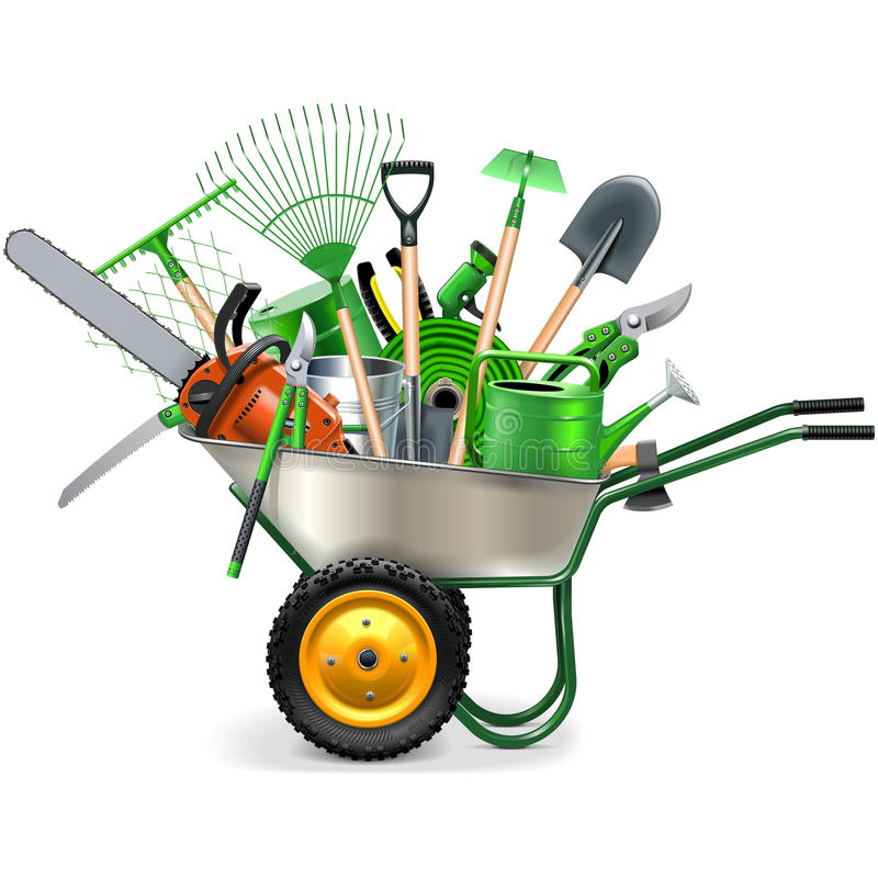 Free Vector Wheelbarrow With Garden Accessories Royalty Free Stock Photography - 71085177