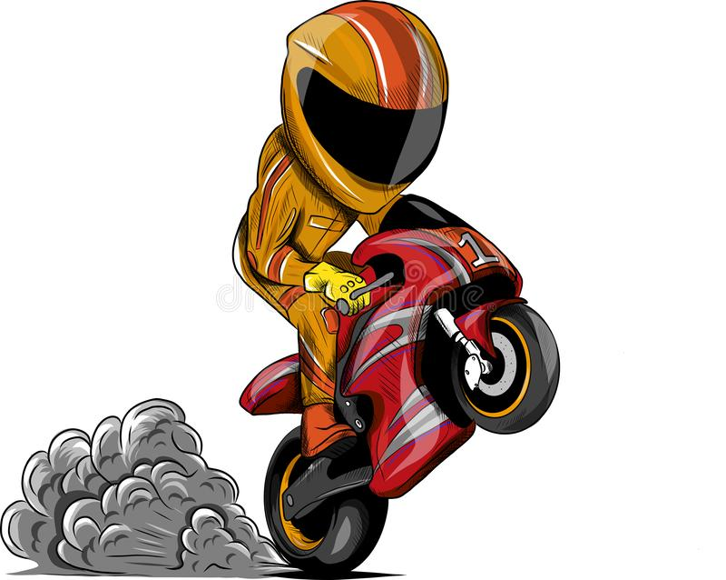 Vector illustration Wheelies Biker Motorcycle Rider racing stock illustration
