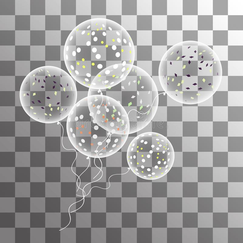 Vector white balloons with confetti on a transparent background vector illustration