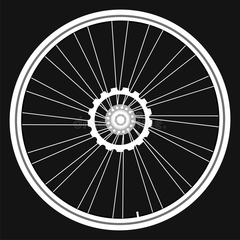 Vector white Bicycle wheels on black background vector illustration