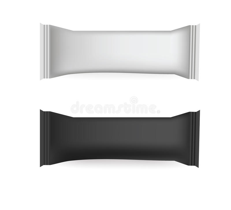 Vector White and Black Blank Food Packaging For Biscuit, Wafer, Crackers, Sweets, Chocolate Bar, Candy Bar, Snacks . Design Templa vector illustration