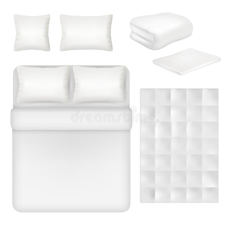 Free Vector White Blank Bedding Realistic Template Set Stock Images - 104010154
