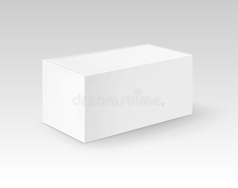Vector White Blank Cardboard Rectangle Take Away Box Packaging For Sandwich, Food, Gift, Other Products Mock up Close up. Isolated on Background royalty free illustration