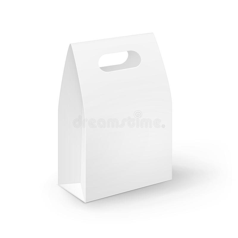 Vector White Blank Cardboard Rectangle Take Away Handle Lunch Box Packaging For Sandwich, Food, Gift, Other Products. Mock up Close up on White Background royalty free illustration