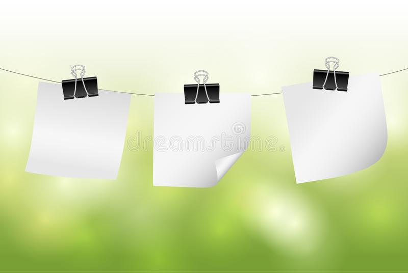 Vector white blank paper notes hanging on string with green blurred background royalty free illustration