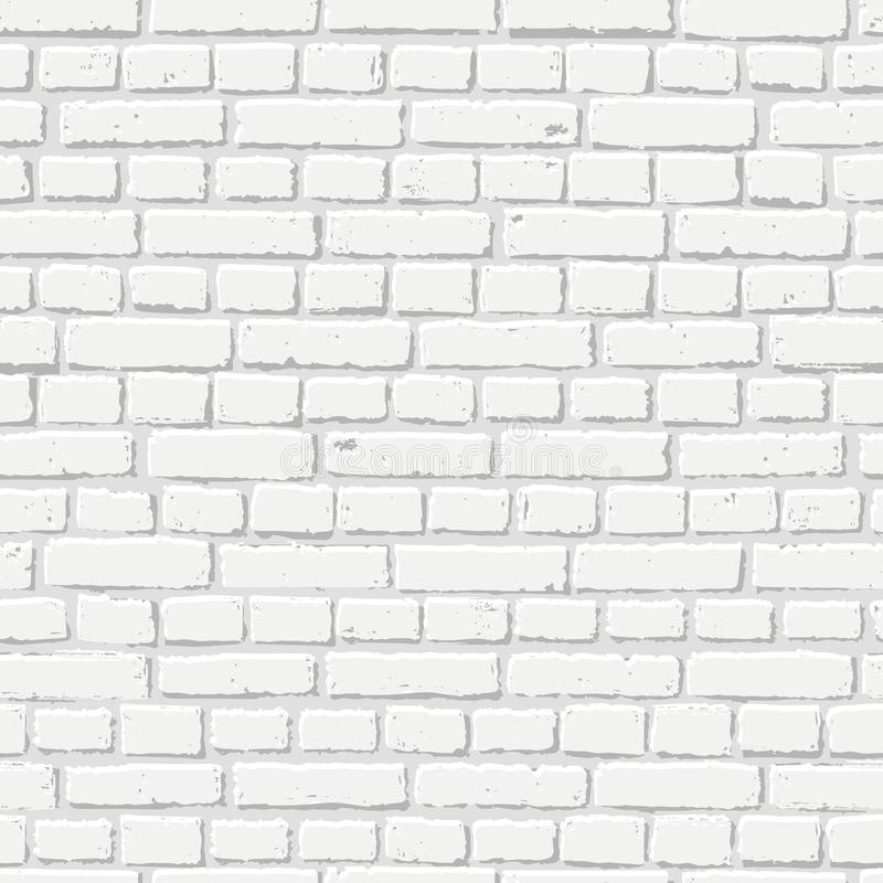 Vector white brick wall seamless texture. Abstract architecture and loft interior, background royalty free illustration