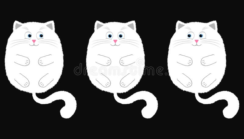 Vector White Cat in Cartoon Style. 2. Vector White Cat in Cartoon Style. Funny Illustration of White Kitten with Blue Eyes, Lying on the Back with Paws and Tail vector illustration