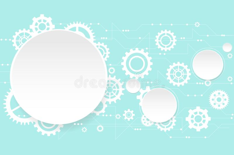 Vector white circle and gear design on technology background. royalty free illustration