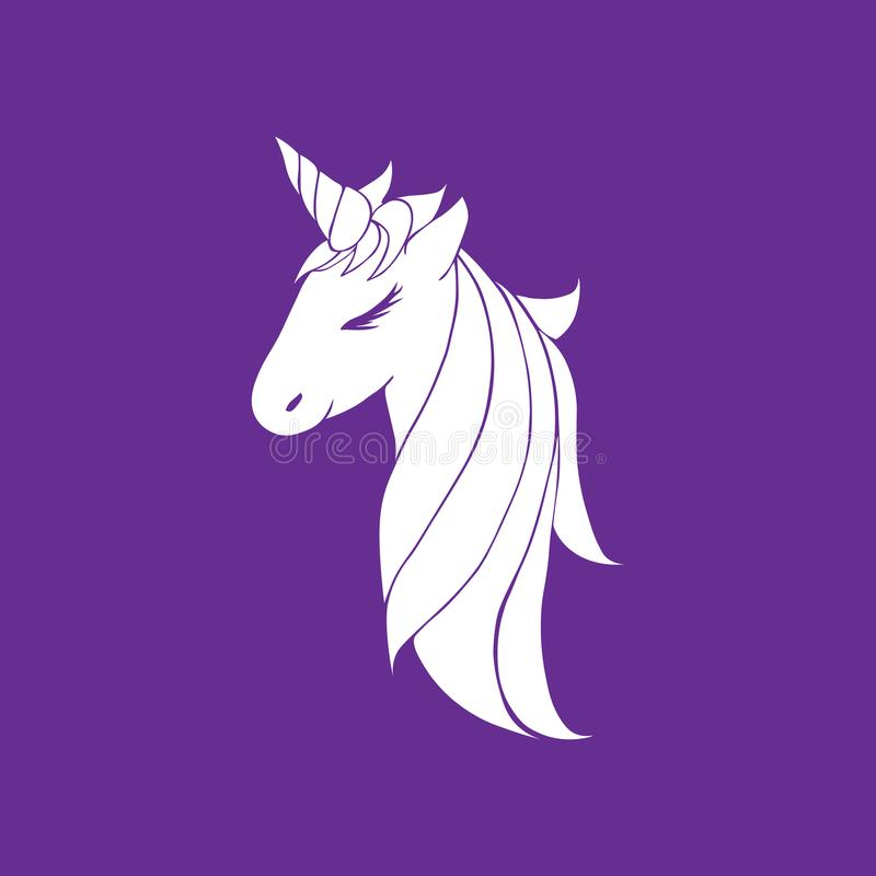 Vector white colorless unicorn beautiful for girls, layout for coloring and design. head of a unicorn with a horn and mane. Head of a unicorn with a horn and stock illustration