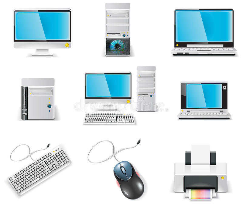 Vector white computer icon set. Part 1. PC vector illustration