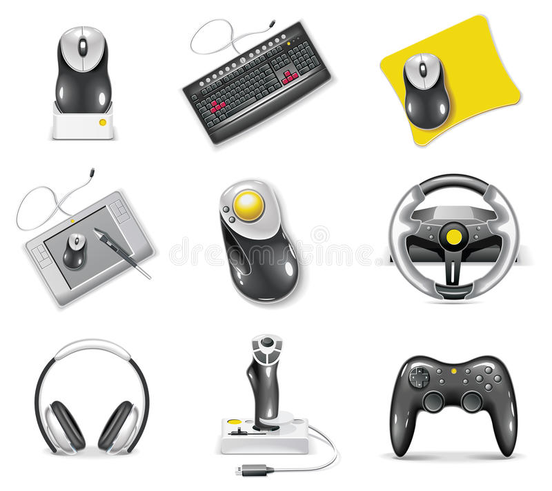 Vector white computer icon set. Part 7. Set of icons representing realistic computer components royalty free illustration