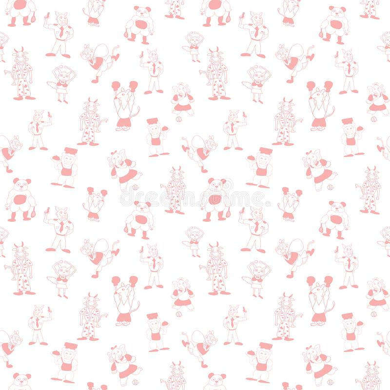 Vector white cute anthromorphic cartoon characters in beautiful peach seamless pattern background vector illustration